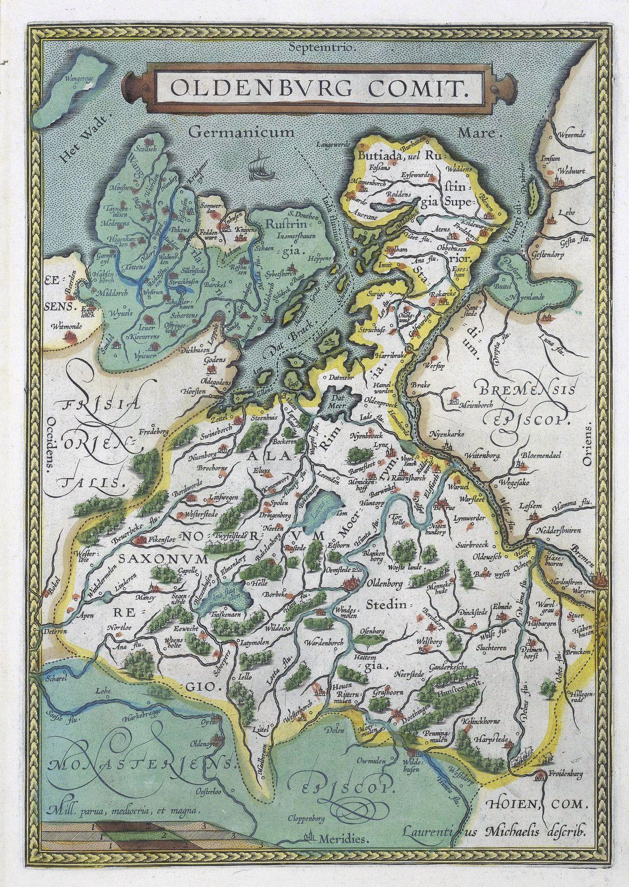 1608 Ortelius Map Of Oldenburg In 2020 Oldenburg