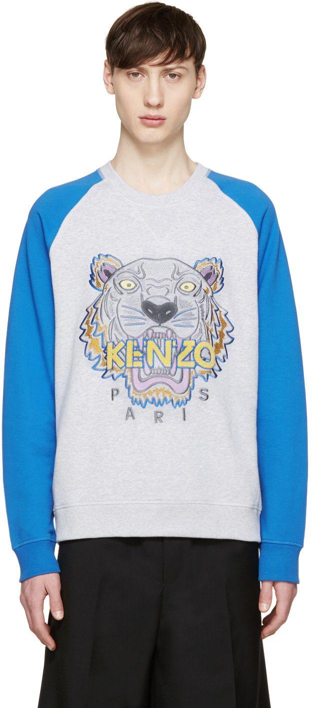 d11080f4e71c ... KENZO Grey amp Blue Raglan Tiger Pullover. kenzo cloth pullover Cool  brand new f76d1 8fea7  black tiger sweatshirt ...