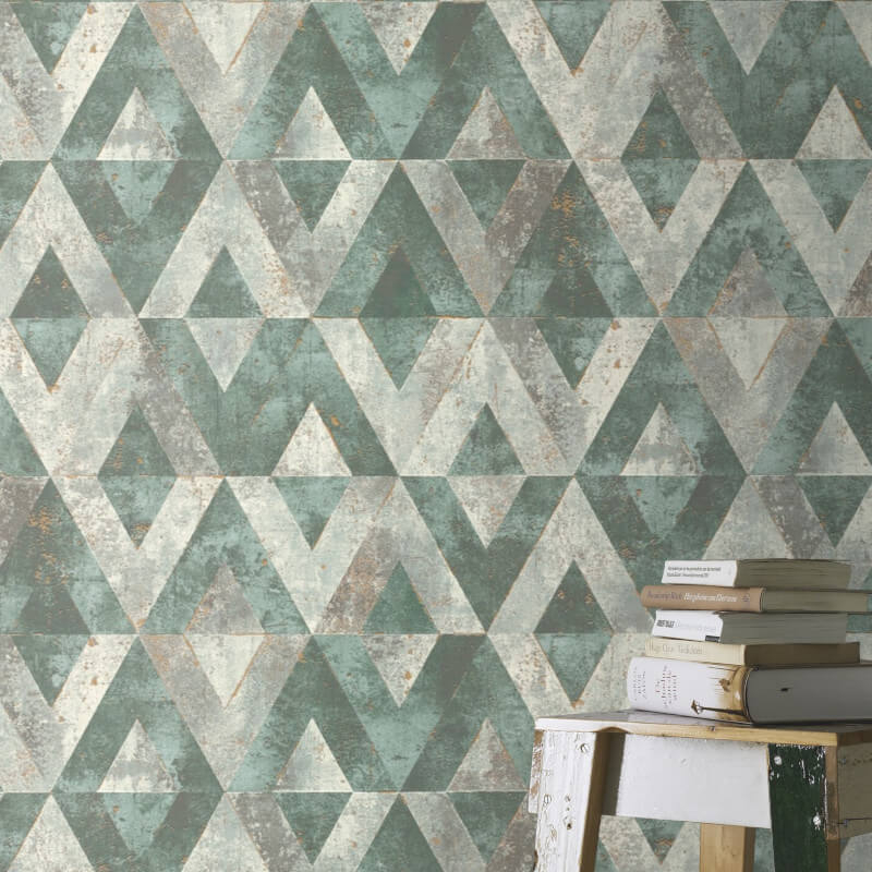 Rasch Yucatán Geometric Triangles Grey/Green Metallic