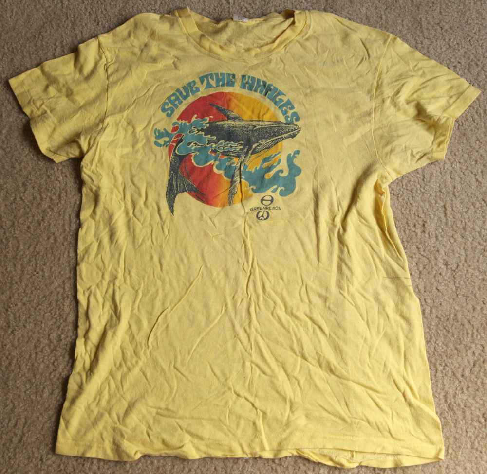 f6296a1f Vintage 1970s Hanes Greenpeace Save the Whales T-Shirt, Cotton | eBay