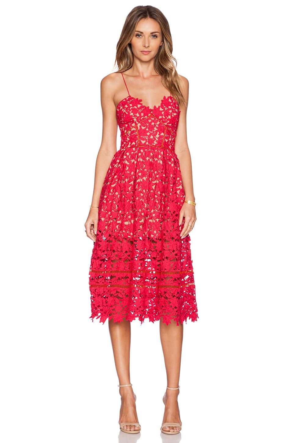 b1841bde93abd self-portrait Azalea Dress in Red   Nude