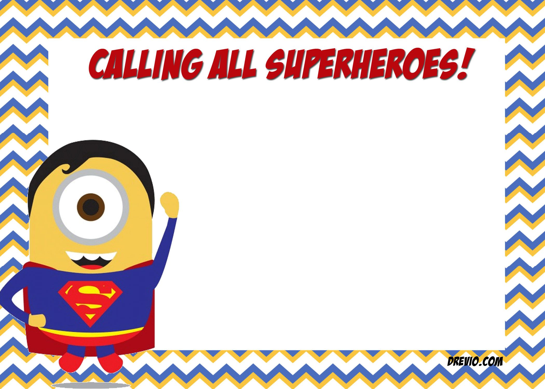 Nice FREE Printable Minion Justice League Invitations Template ...