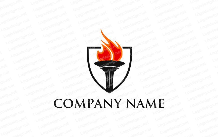 Fire torch in shield Logo design, Corporate logo design