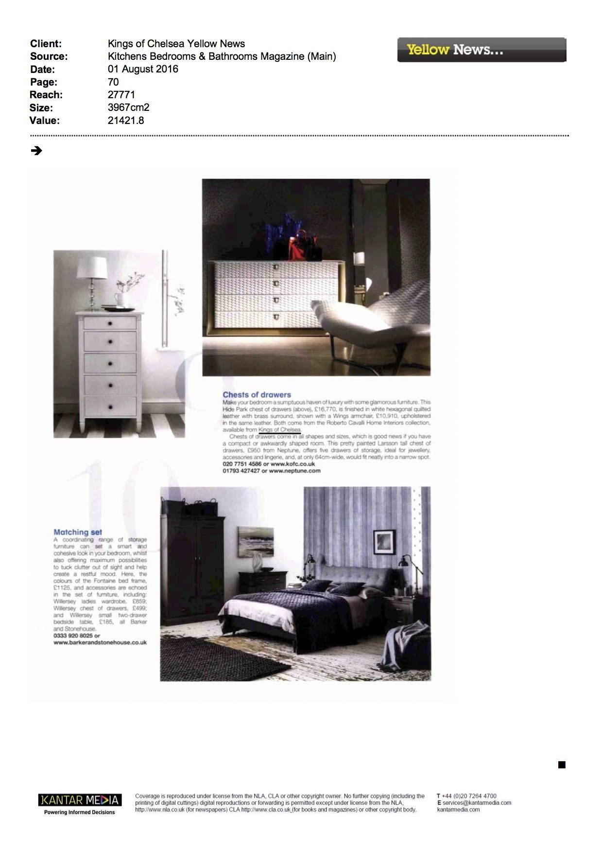 0e2e1ce8fb030 Kitchens Bedrooms   Bathrooms Magazine covering Kings of Chelsea. Includes  the Roberto Cavalli Wings Armchair