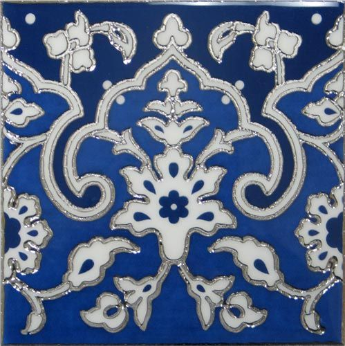 Blue And White Porcelain Decorative Silver Art Wall Tile 8x8
