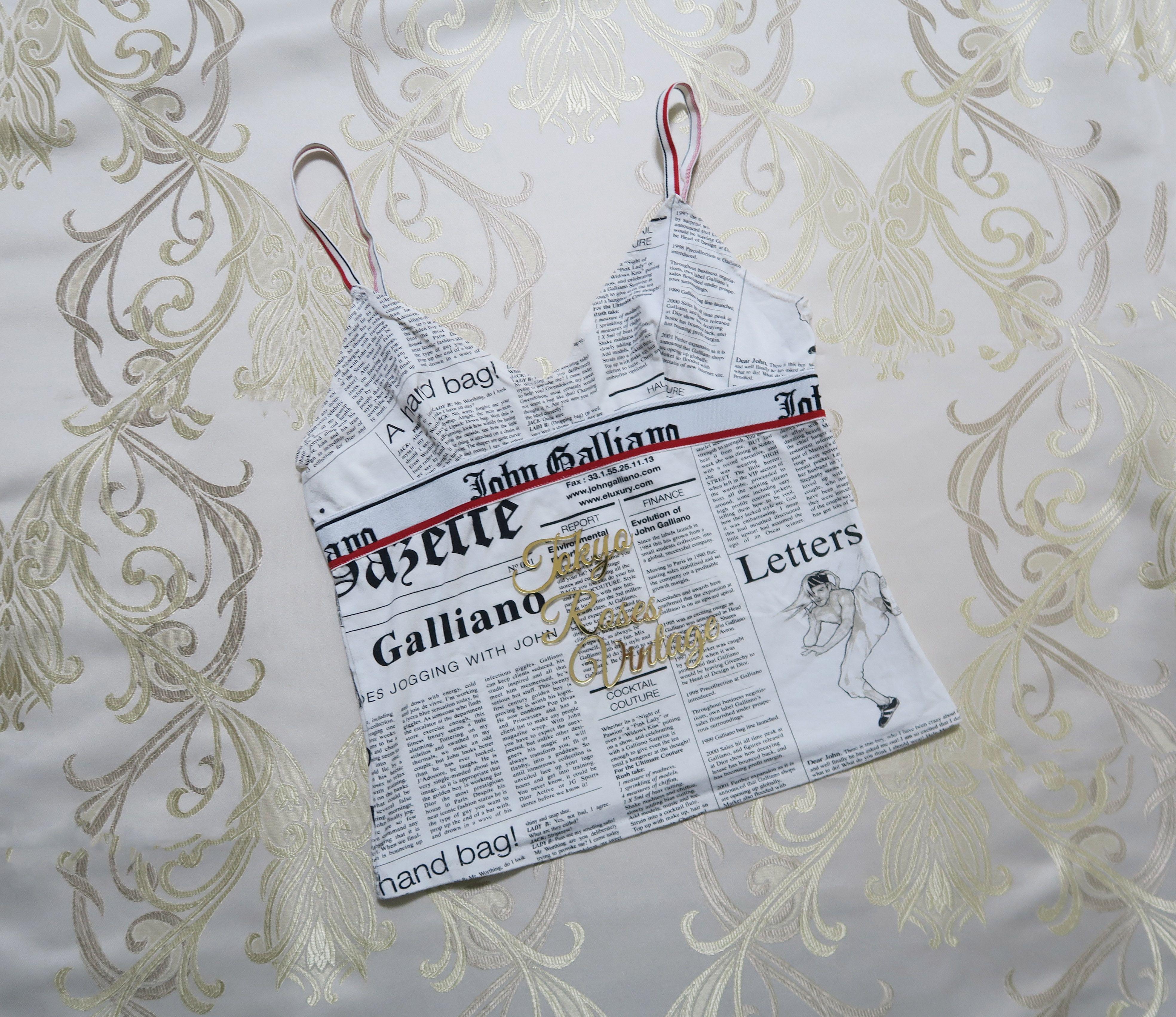 4d4e76326da2d Vintage John Galliano Gazette Newspaper Print Tank Top | Vintage ...