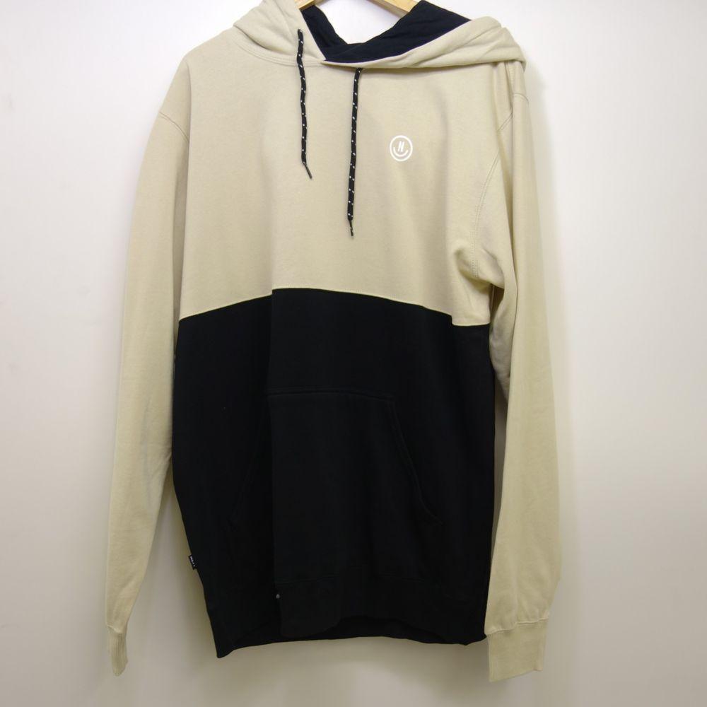 b62e88904caafc New Pacsun Neff Mens Black Beige Split Logo Skating Pullover Hoodie Size XL   NEFF  Hoodie