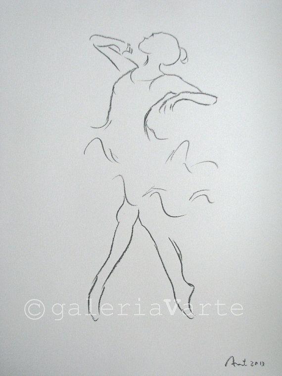 original charcoal drawing Ballet Dancer by galeriaVarte on Etsy