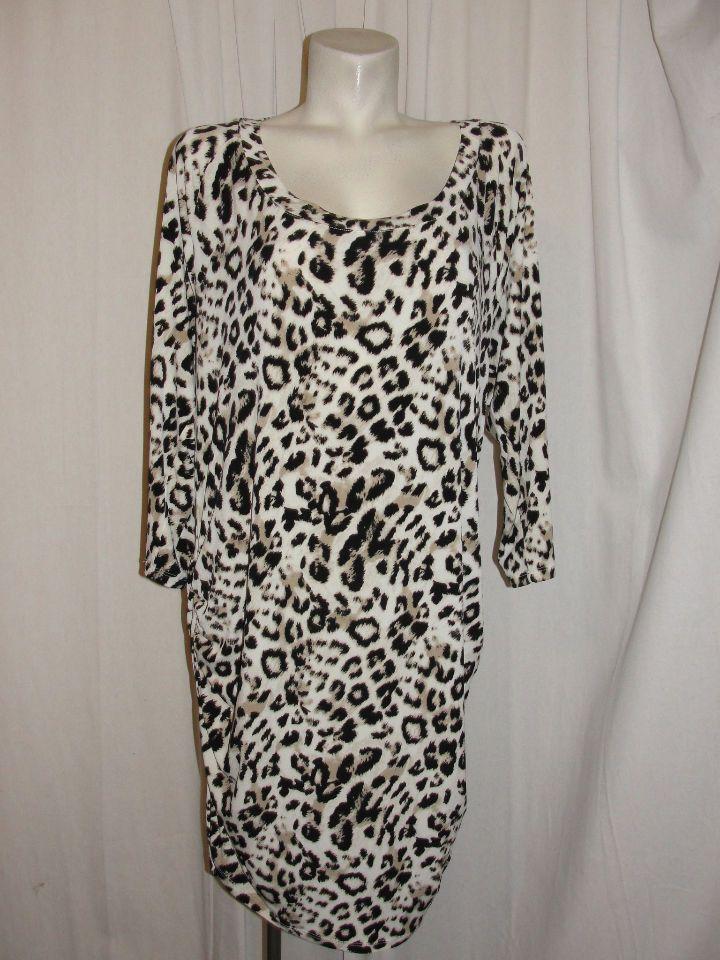 TORRID Womens Black Beige Animal Print Drape Back Blouson Pullover Dress Size 3…