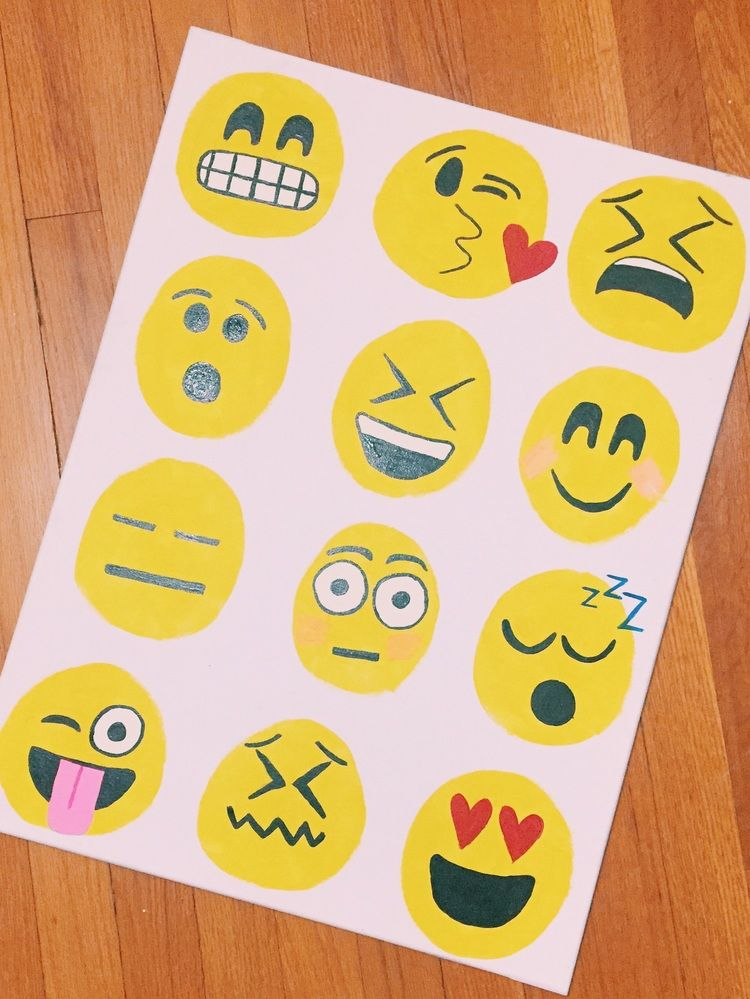 Emoji Canvas Click Through For Instructions Emoji Painting Painting For Kids Emoji