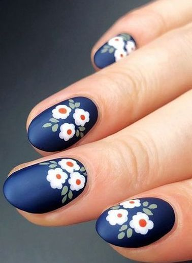 Get Started With Innovative Nail Art Designs Flower Nail Art Floral Nail Art Blue Nail Art