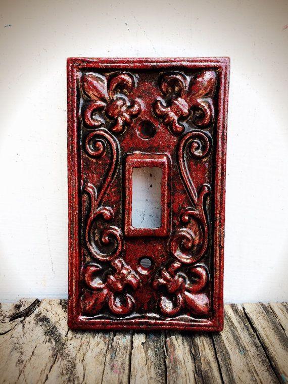 Gothic Victorian Crimson Red Bronze Decorative Fleur De Lis Light