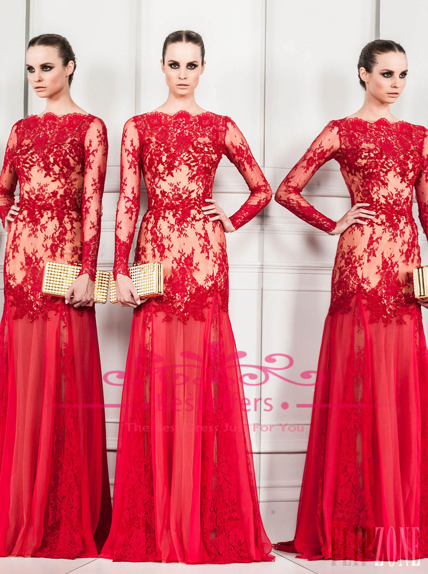 Discount red evening dresses with long sheer lace sleeves off the