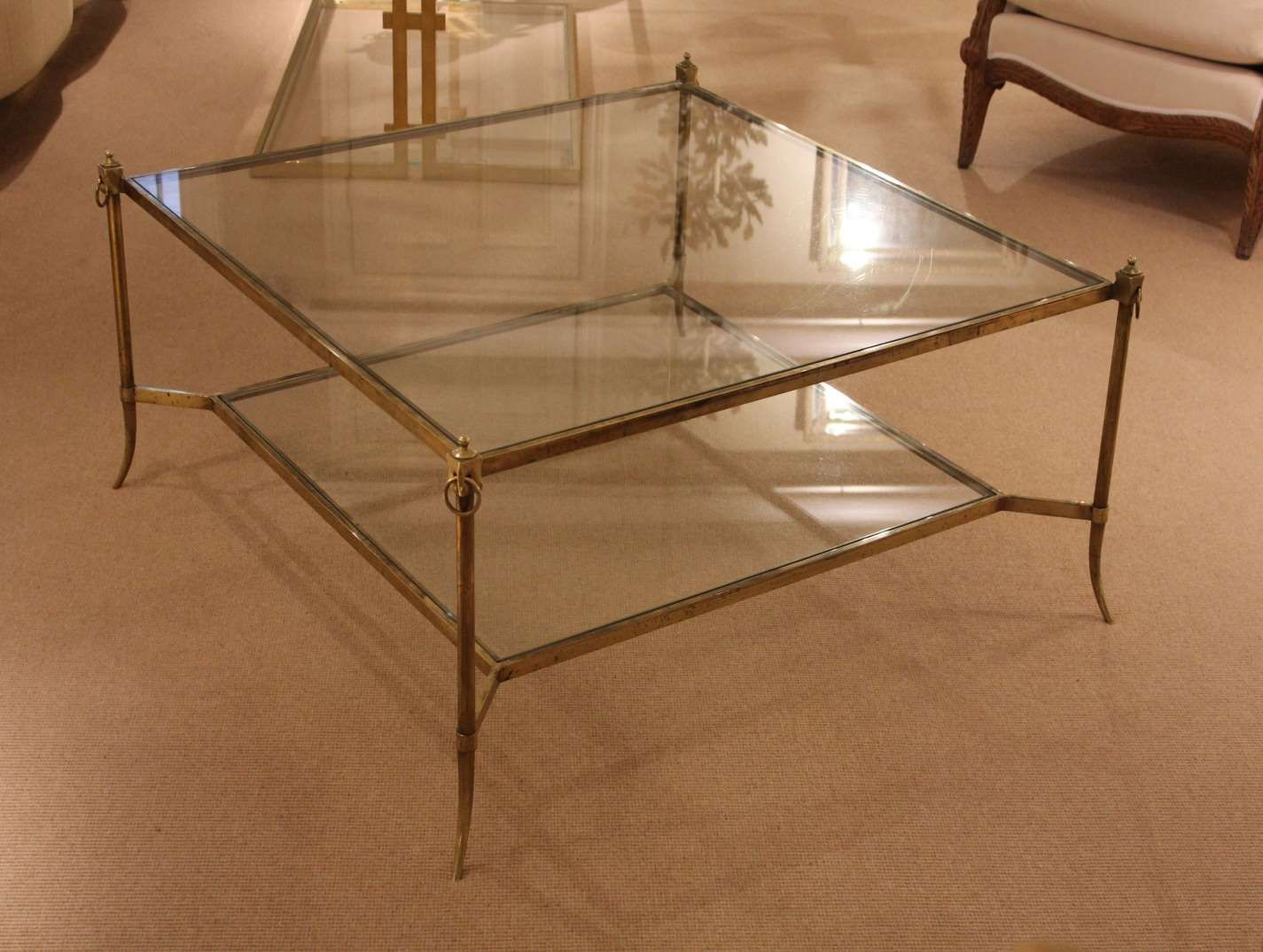 Brass Glass Coffee Table Mid Century Lucite Brass Glass