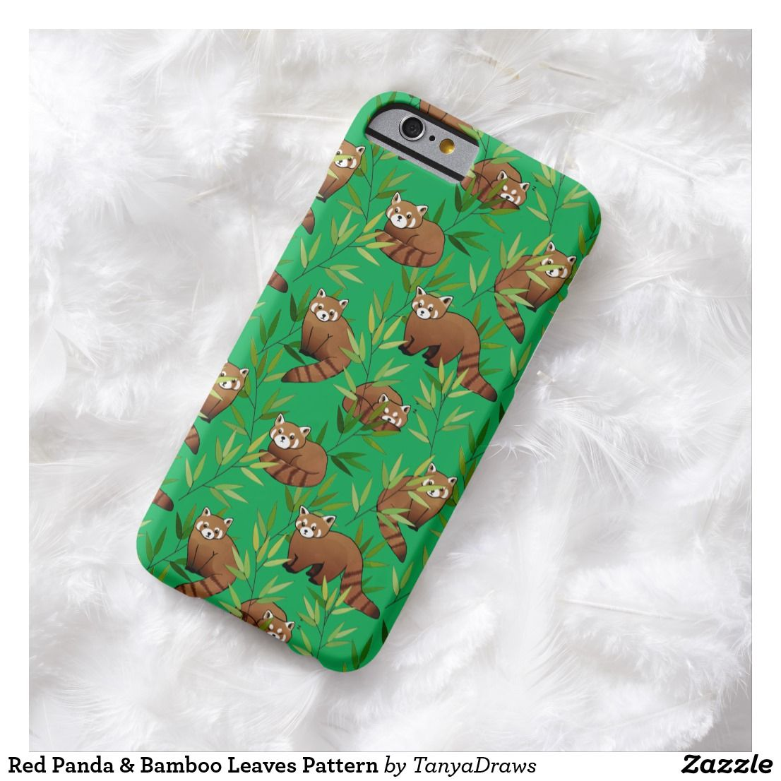 Red Panda & Bamboo Leaves Pattern Barely There iPhone 6 Case from Zazzle