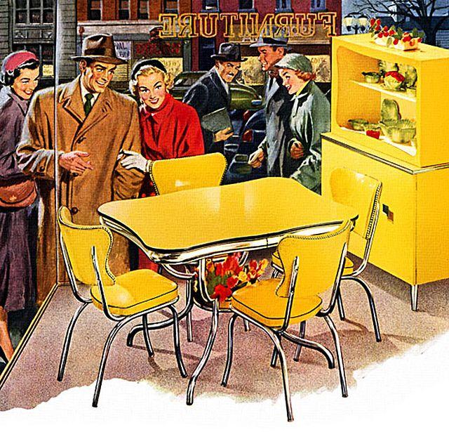 1952 dinette of yellow! Les années, Annee et Cuisine jaune