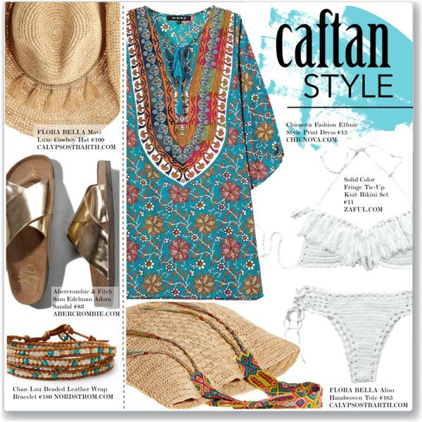 Cool Caftan Style by alessandra-mv on Polyvore featuring moda, Chicnova Fashion, Abercrombie & Fitch, Flora Bella, Chan Luu and caftanstyle