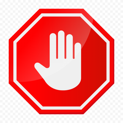 Hd White Stop Hand Sign On Red Stop Highway Sign Png Highway Signs Signs Png