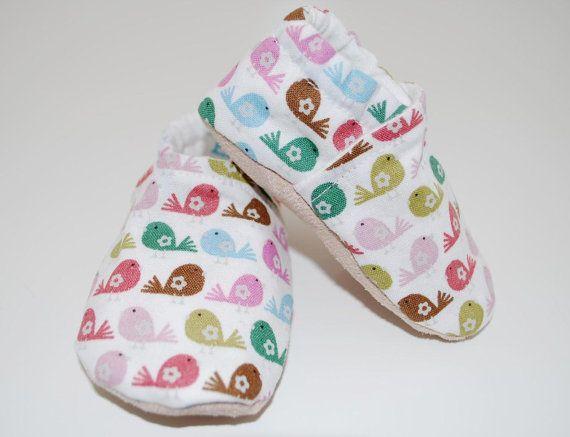 Colorful Birds Soft Sole Cloth Baby Shoe Bubble Wrap Children S