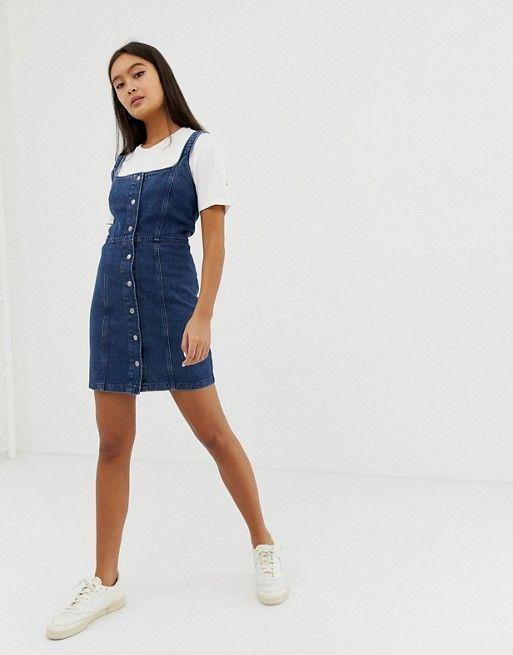 ASOS DESIGN denim bodycon dress with popper detail in indigo | ASOS#asos #bodycon #denim #design #detail #dress #indigo #popper