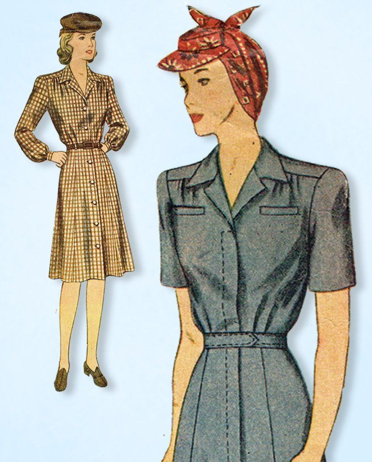 1940s Vintage Simplicity Sewing Pattern 4746 Iconic WWII Shirtwaist ...