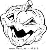 Vector of a Laughing Evil Jack-O-Lantern - Black and White Halloween Line Art by Lawrence Christmas Illustration