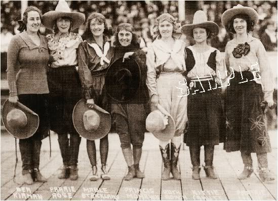 7 Vintage Western Rodeo Cowgirls Photo Canvas Art