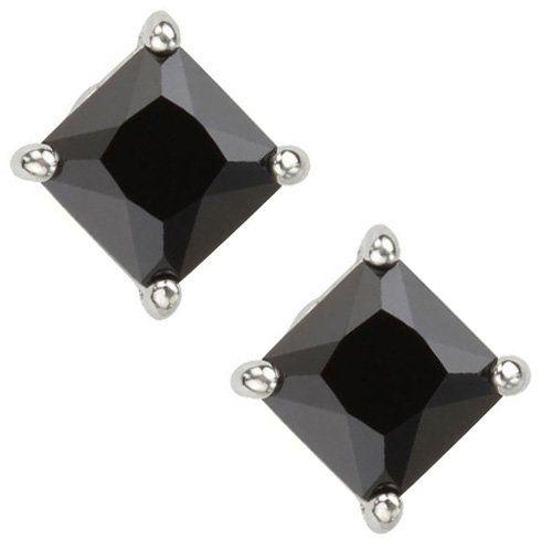 iJewelry2 Square Invisible Cut CZ Basket Set Silver Men Unisex Stud Earrings (1ct. 6mm) jBGiJqRG