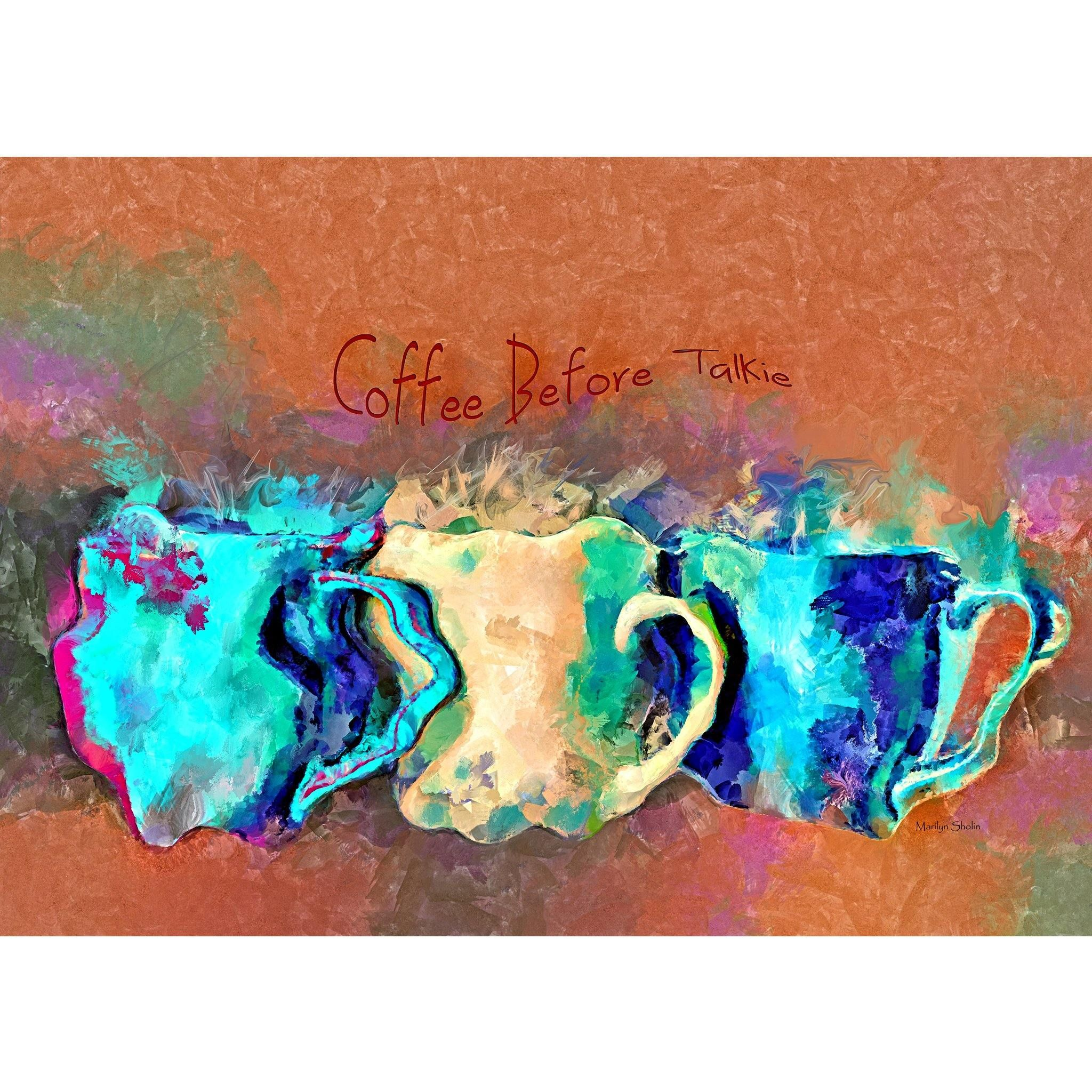 Coffee Before Talkie Painting for Wall Decor - 1319 / Fine Art Print
