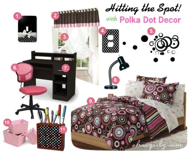 Cute Girly Polka Dot Bedroom   Black / Chocolate Brown And Pink Room Decor  For Girls