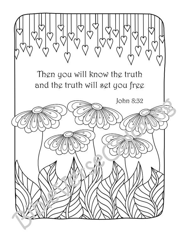 5 Bible Verse Coloring Pages Set Floral Diy Adult Prayer Journal