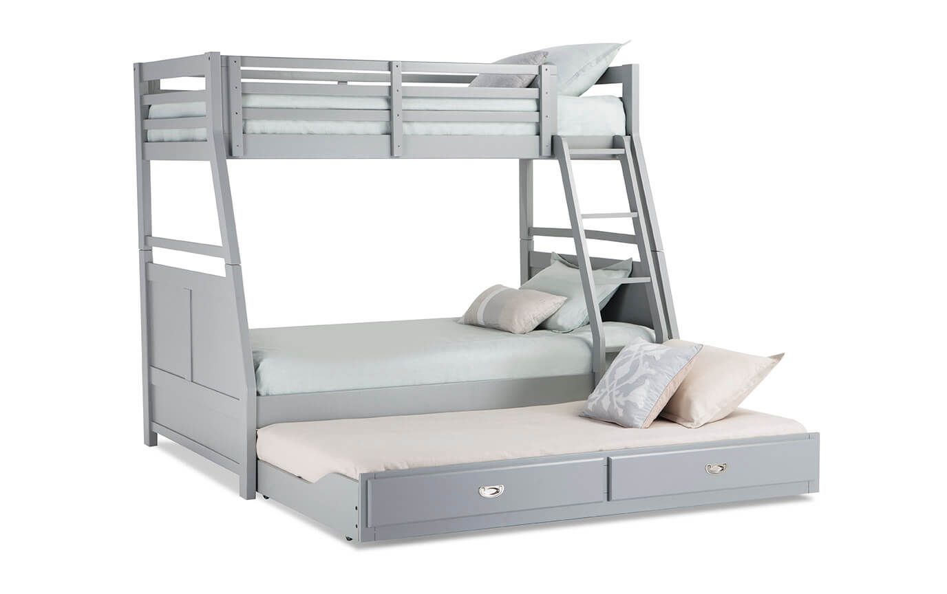 Chadwick Twin Full Gray Bunk Bed With Trundle With Images Bunk