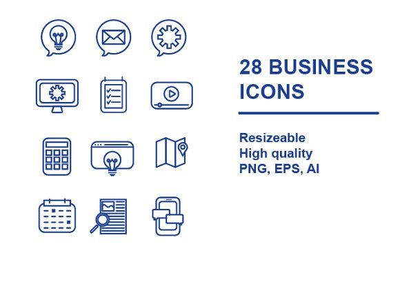 28 BUSINESS ICONS  by maudemilie on @creativemarket #tech #techicons #icon #flaticon #vector #illustration #vectors #icons #vectorpack