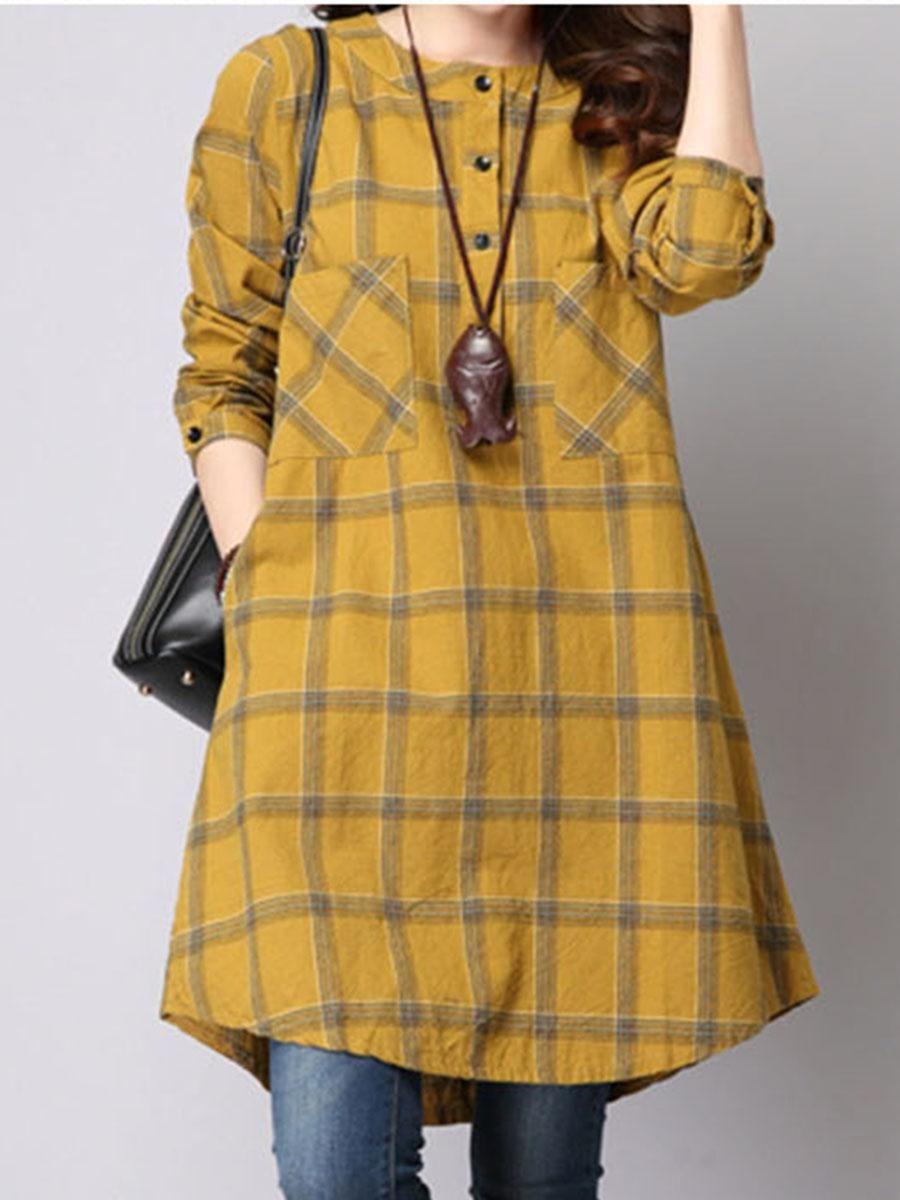 Berrylook berrylook round neck plaid patch pocket shift dress