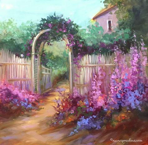 Accidental Journey Flower Cottage Original Art Painting By Nancy Medina
