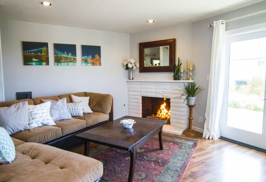 All white fireplace!
