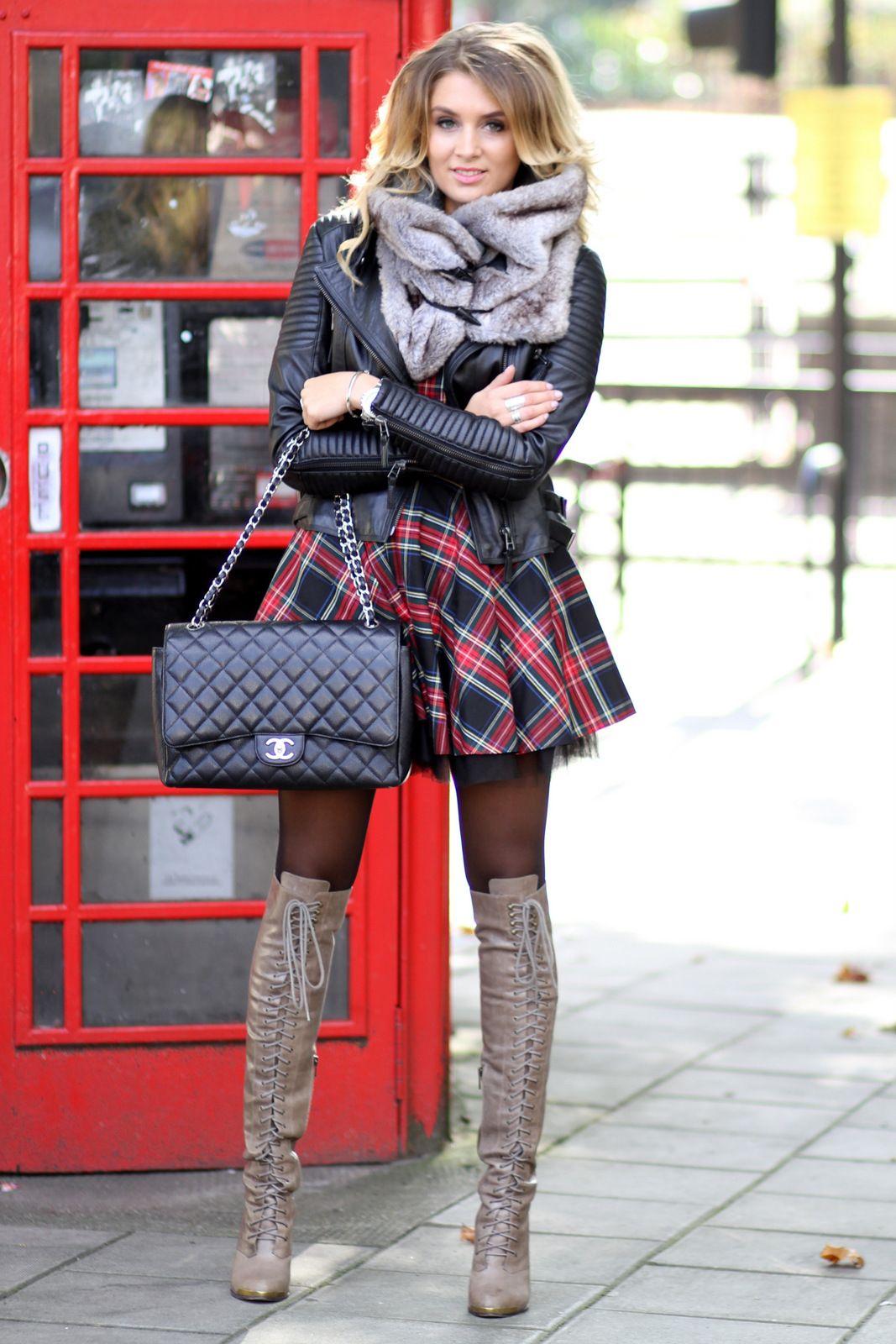 Boots: Joie , Dress: River Island, Bag: Chanel, Jacket: Zara