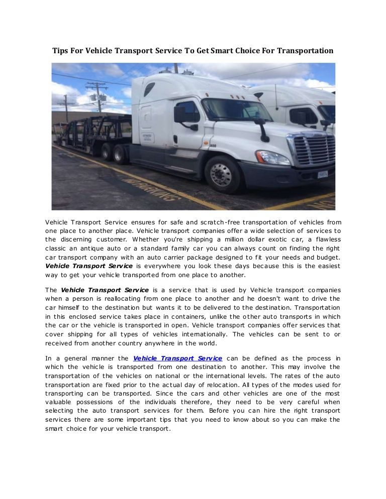 Do you want to hire a VehicleTransportService because you