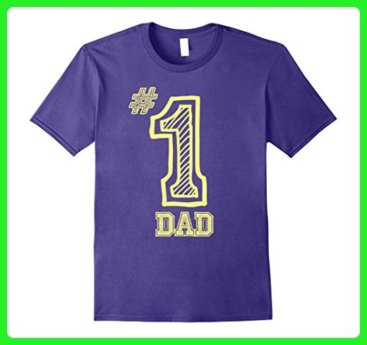 Mens Number One Dad Fathers Day Gift Yellow C1 Funny T-shirt 2XL Purple - Holiday and seasonal shirts (*Amazon Partner-Link)