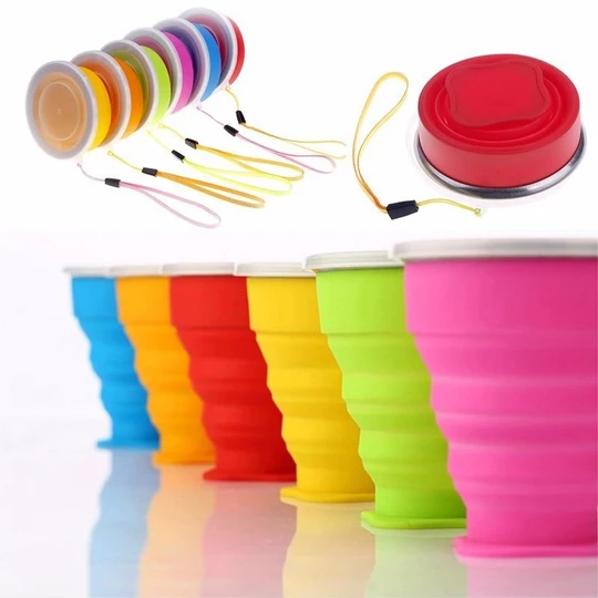 Plastic Folding Cup Telescopic Collapsible Outdoor Travel Camping~