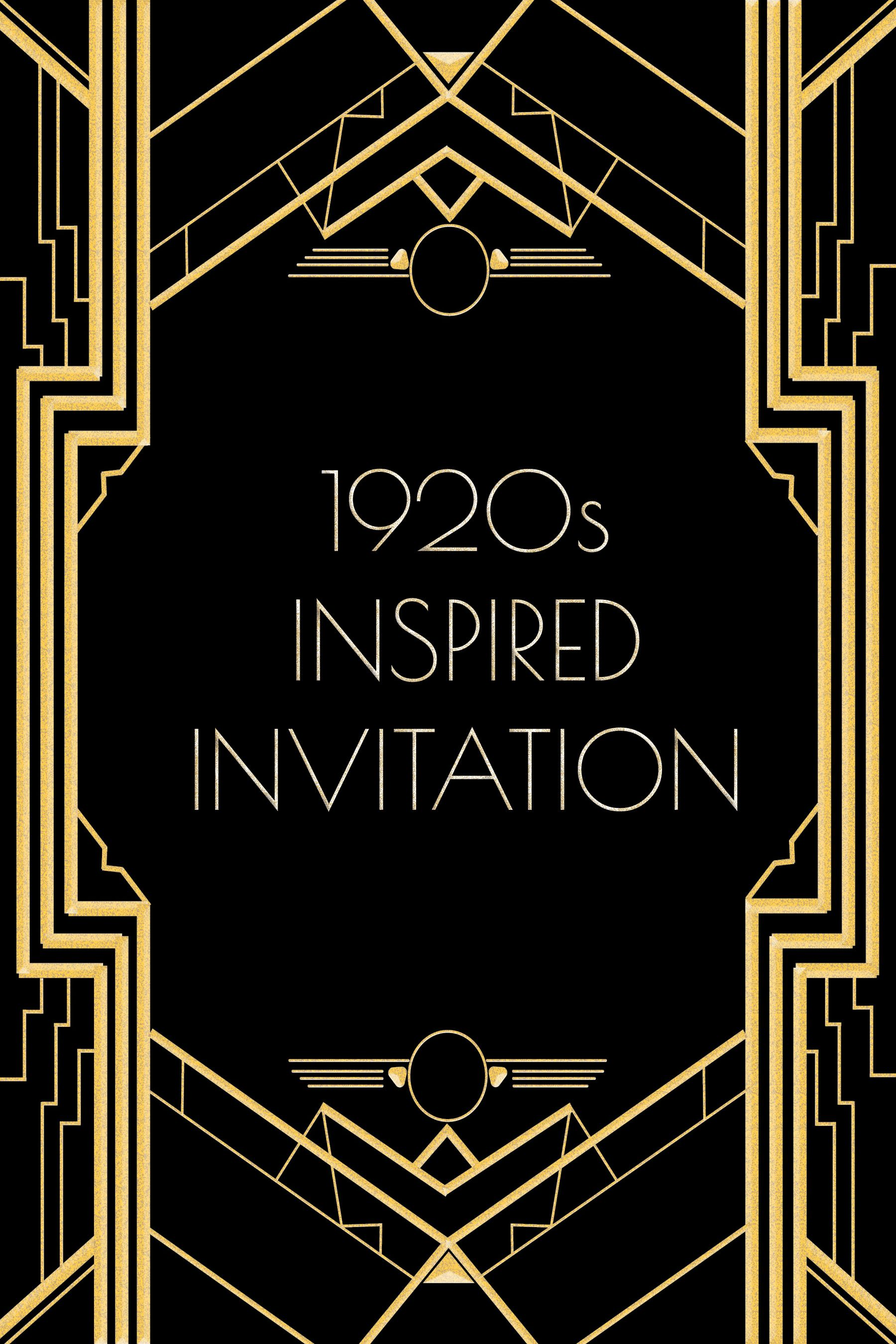 Use this 1920s inspired invitation template for a Gatsby or ...