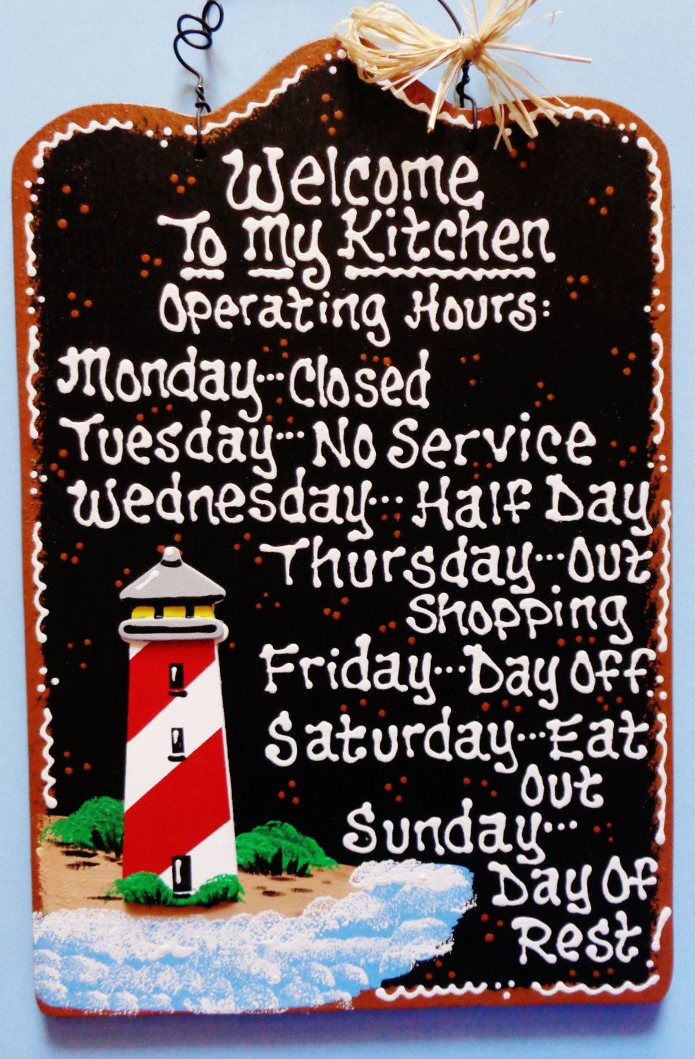 Lighthouse Kitchen Operating Hours Sign Nautical Beach Wall Etsy Seaside Decor Nautical Beach Decor Wall Plaques