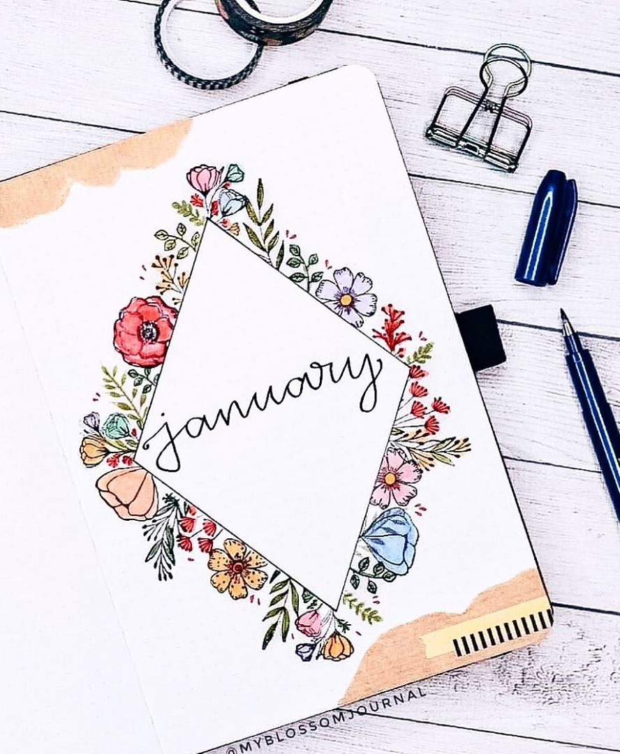 Floral January bullet journal cover