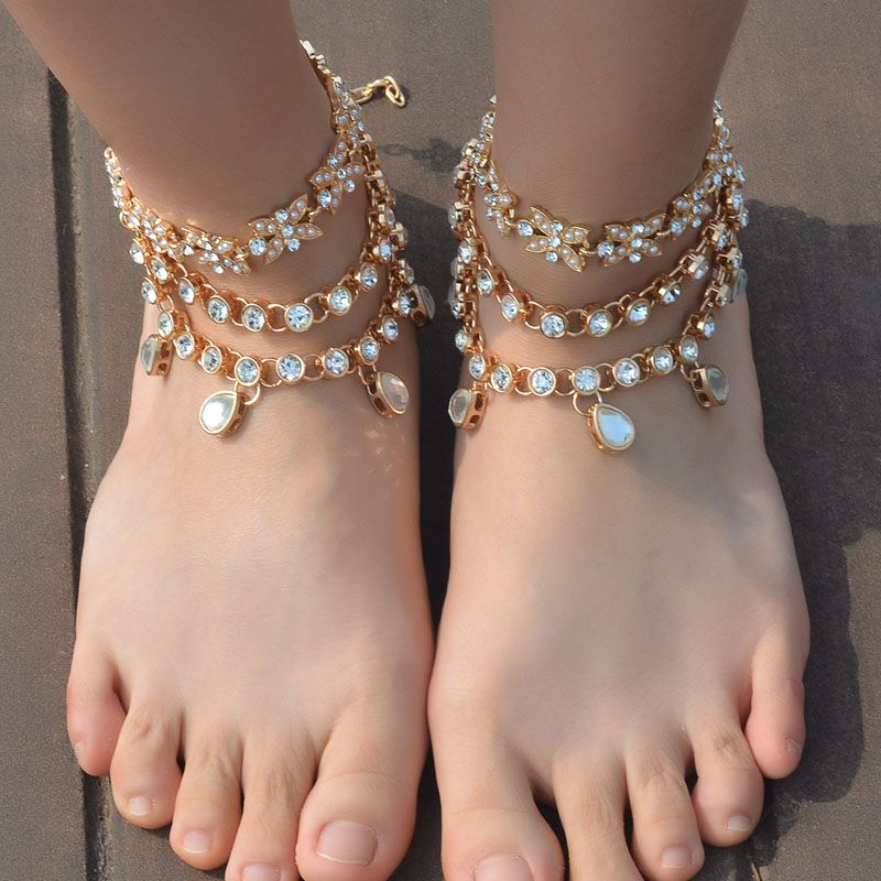 ... Water Drop Crystal Flowers Anklets for Women Girls Beach Barefoot  Sandals Statement Arm Chain Jewelry Buy now for   17.01   get FREE Shipping  worldwide ... 7b84a940f273