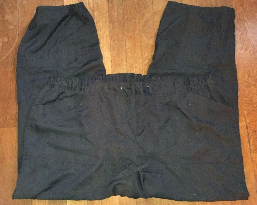 Dark Brown Polyester Drawstring and Elastic Waistband Pants - 22 #LaneBryant #CasualPants