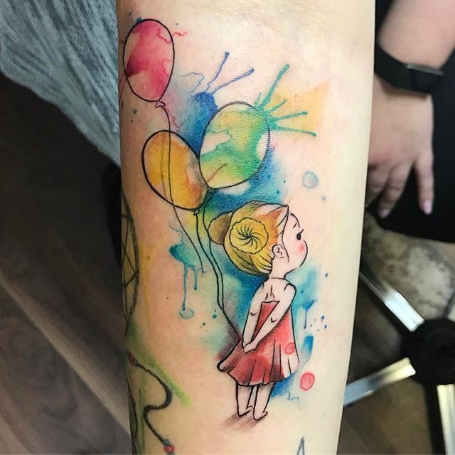 Girly Watercolor Tattoo Watercolortattoo Aquarelle Berlin