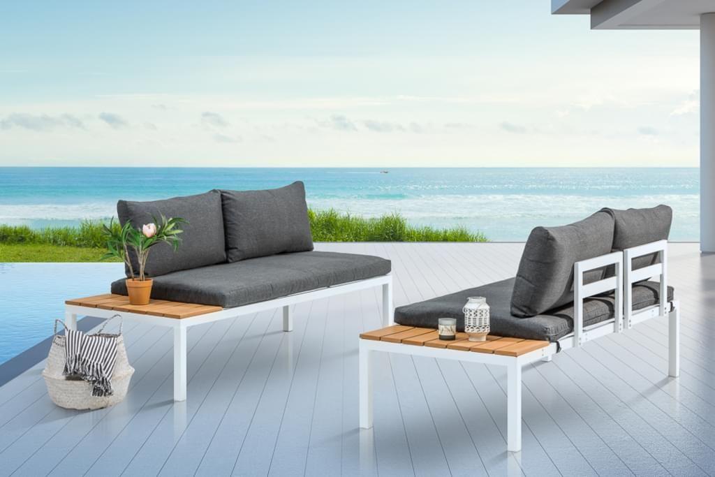 Outdoor Sitzgruppe Orlando Lounge 170cm Weiss Grau S Real Sitzgruppe Gartenmobel Lounge Mobel