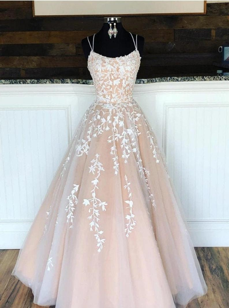 Champagne and ivory Lace Prom Dress Long Evening Gown Graduation Party Dress Formal Dress Dresses For Prom