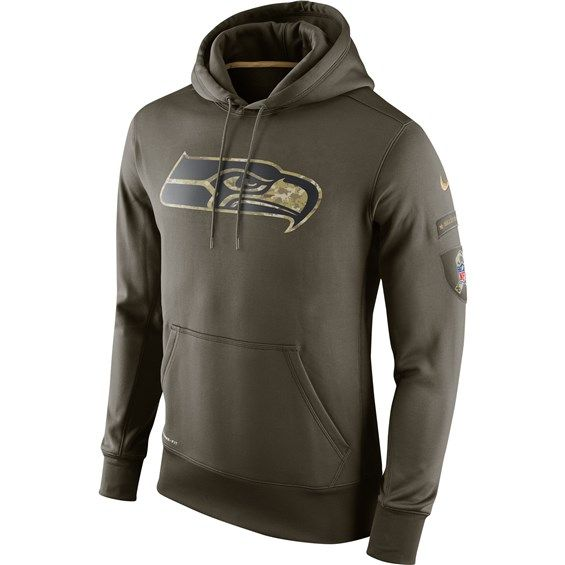 NFL Seattle Seahawks Football Hoodies Salute to Service Sideline Pullover Hooded