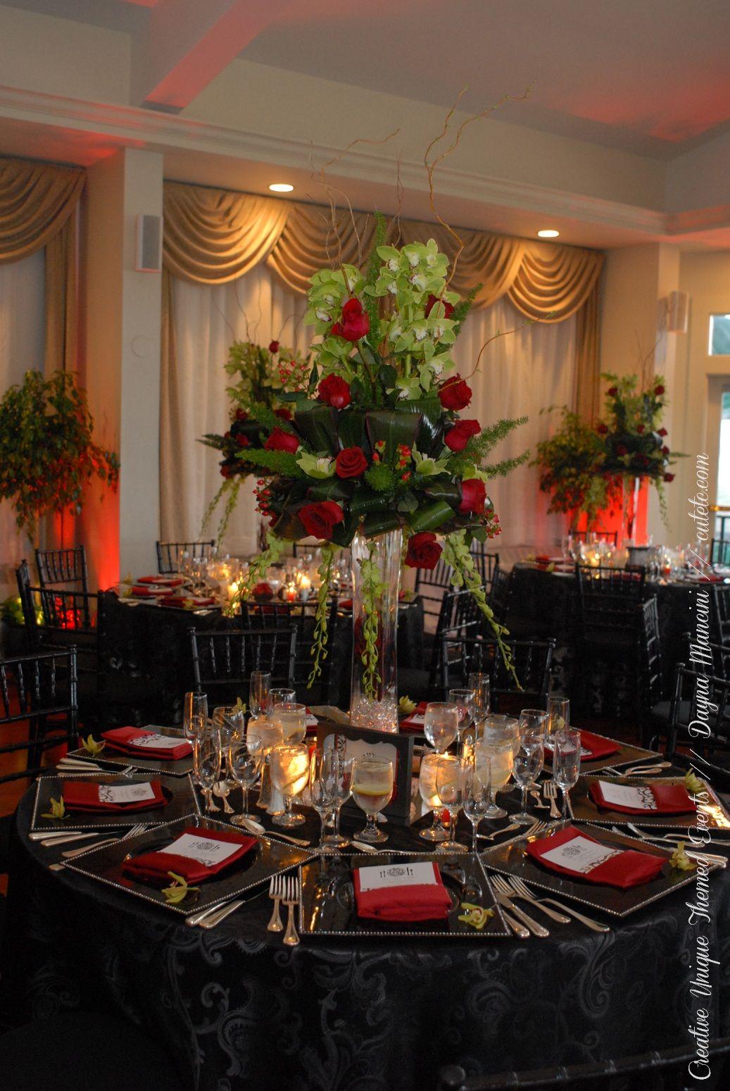 #wedding #blackandred #oceancliff #newport dayna mancini // event design and coordination // cutetc.com